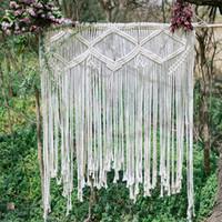 Wholesale christmas window art online - Bohemian Macrame Wedding Backdrop Macrame Wedding Arch Arbor Macrame Wall Hanging Macrame Door Hanging Window Curtain BOHO Wall Art
