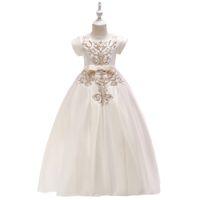 белый пол длина детские платья оптовых-Детское платье Принцесса платье девушки белый длиной до пола платье с коротким рукавом вышитые свадебное платье длинный стиль моды для всех сезонов