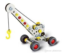 guindaste de brinquedo de construção venda por atacado-Montagem em 3D de Engenharia de Metal Kits de Veículos Modelo de Brinquedo Carro Guindaste Da Motocicleta Caminhão Avião Edifício Puzzles Construção Play Set
