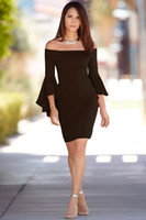 Wholesale cheap plus bodycon dresses - Women dress 2018 casual dress sexy dresses plus size robe cheap clothes china women summer a word shoulder flare horn sleeves dress
