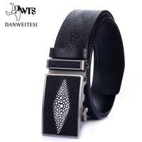 Wholesale Fishing Belt Buckle - [DWTS] 2016 New Designer Automatic buckle Cowhide men Pearl fish stripe belt Luxury Genuine leather belts for crocodile men