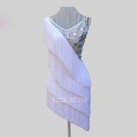 erwachsene tanzspitzen großhandel-Latin Dance Kleider Frauen Top Qualität Bühne Quaste Rumba Sumba Spiel Rock Maßgeschneiderte Erwachsene Weiß Fringe Latin Tanzen Kleid