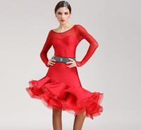 tango için balo dansı elbiseleri toptan satış-Ücretsiz Kargo 5 Renk Kırmızı Siyah Yetişkin Latin Dans Elbise salsa tango Cha cha Balo Salonu Rekabet Uygulama Uzun Kollu Kılçık Dans elbise