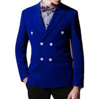 ingrosso gli uomini tuxedos dello sposo del costume-Royal Blue Wedding Groom Tuxedos 2018 Blazer a due pezzi a doppio petto Custom Made parte degli abiti da lavoro da uomo