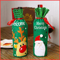 Wholesale wine bottle wraps for sale - Group buy Christmas red wine bottle set elk snow man Santa Claus red wine bag Christmas champagne bottle set decoration