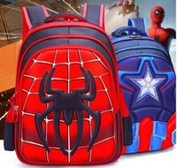 Wholesale captain america backpacks for sale - Group buy baby backpack kids backpack Schoolbag Pupil Captain America Spider Man Cartoon kids bags Boy Backpack Nylon Waterproof School Bags
