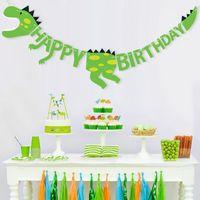 ingrosso l'acquazzone del bambino fornisce il trasporto libero-Commercio all'ingrosso 1 PZ Dinosaur Birthday Party Banners Baby Shower Decorazioni Party Pennant Supplies Spedizione gratuita