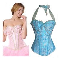 Wholesale blue burlesque corset - Wechery Sexy Corset Pink Blue Burlesque Corselet Corsets And Bustiers Bodice Sexy Lingerie Beaded Halter Overbust Bustier