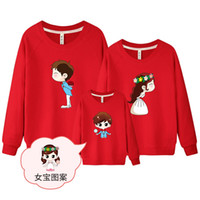 Wholesale Family Sweatshirts - 1 piece Sweatshirt for Whole Family Wedding Top Warm Cotton White Sweatshirt Couple Female Male Kids Matching Family Clothing