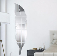 adesivos de parede para vestiários venda por atacado-Acrílico Pena Espelho Adesivo 3D Arte Removível Adesivos de Parede Criativo DIY Aparelho de Espelho de Parede Decalque Quarto Sala de estar Decoração