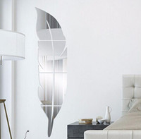 pegatinas de pared vestidor al por mayor-Acrílico Pluma Etiqueta engomada del espejo Arte 3D Pegatinas de pared desmontables Creativo DIY Vestirse Espejo Tatuajes de pared Dormitorio Sala de estar Decoración