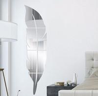ankleideraum wandaufkleber großhandel-Acryl feder spiegel aufkleber 3d kunst entfernbare wandaufkleber kreative diy dressing spiegel wandtattoo schlafzimmer wohnzimmer dekoration