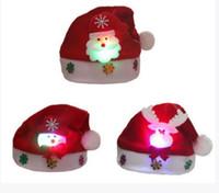 рождественские шапки для взрослых оптовых-Led Kids Christmas Hat Xmas Взрослый Мини Красный Санта-Клаус Олень Партия Декор Рождественские Шапки Украшения шапочка для детей взрослых Держатель Посуда