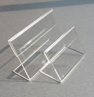 soportes de plastico para papeles al por mayor-Etiqueta de precio Exhibición de la etiqueta Acrílico T1.3mm Plástico Transparente Muestra de la tabla Papel Promociones Titulares de tarjetas Pequeño L Forma Soportes 50 unids