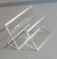 ingrosso supporto per display di prezzi acrilici-Prezzo Tag Label display acrilico trasparente T1.3mm tavolo in plastica Iscriviti I titolari di carta carta Promozione Piccolo a L Stand 50pcs