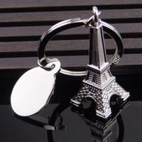Wholesale eiffel tour - Silver Eiffel Tower Keychain Paris Tour Eiffel Keyring French Souvenir Model Pendant Key Chain 50pcs OOA4607
