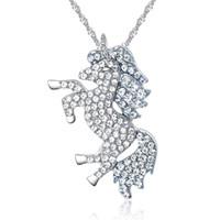 pendentif anges achat en gros de-Hot Angels Pony Mashing Chain Collier pendentif Licorne avec diamant incrusté de micro-pendentif Licorne clouté Europe et États-Unis