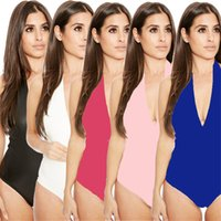 289715ba3ccbe 2018 New Women Deep Plunge One Piece V Neck Swimsuit beach wear Lace-up  Back Monokini Sexy cover up Bathing Suit