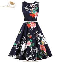 siyah çiçek tunik toptan satış-SISHION Artı Boyutu Yaz Elbise 2018 Kolsuz Tunik vestido Çiçek Baskı Çiçek Kadınlar Seksi Parti Siyah Vintage Elbiseler VD0796
