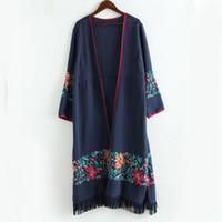 leinen quaste großhandel-2018 dünne lange Trenchcoat Baumwolle Leinen Blumenstickerei Tassel Saum chinesischen Stil Vintage Langarm Open Stitch Casual Mantel