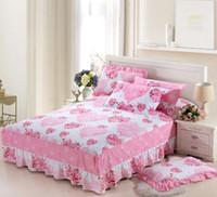 impresión de la hoja de formación de hielo al por mayor-Rosa amor 100% falda de cama de algodón, colcha, cubierta de colchón doble tamaño completo reina 1pcs ropa de cama funda de cama Textiles para el hogar