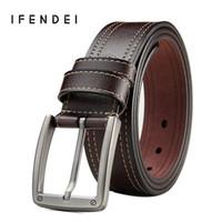 vintage black belt NZ - IFENDEI Retro Leather Belt Men Genuine Leather Waist Vintage Needle Buckle Belts High Quality Black Coffee Strap Drop-shipping