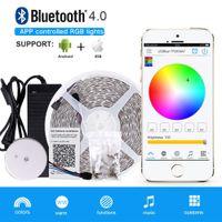 Wholesale 24v Led Driver - 10m Bluetooth LED Strip 600LEDs RGB APP Controlled Lights 5050 Waterproof LED Strip Light Kit + Drivers Bluetooth Controller for IOS Andriod