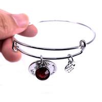 verdaderas pulseras de amor al por mayor-65 mm ajustable brazalete de alambre de acero Birthstone deseo venga verdadero amor pulsera del encanto de la joyería para mujeres regalo de la muchacha B18100-1