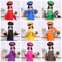 Wholesale Children Cooking Sets - 9 Colors Solid Aprons Kids Apron Pocket Craft Cooking Baking Art Painting Kids Kitchen Dining Bib Children Aprons 4pcs set CCA9817 30set