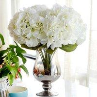 künstliche hydrangea hochzeit sträuße großhandel-Künstliche Blume Hortensien Bouquet 5 Köpfe Silk Flower Real Touch Gefälschte Blume Für DIY Home Hochzeit Dekoration Floral