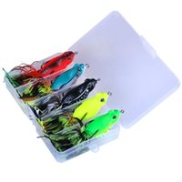 Wholesale floating frog lures online - 5pcs cm g Fishing Lures Tassel Frog Topwater Floating Weedless Lures Frog Baits with Double Sharp Hooks