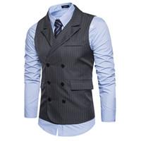 ingrosso giubbotto uomo vestito xxl-Nuovi uomini di arrivo Suit Vest a righe a doppio petto Vest Mens Slim Fit da sposa per uomo Gilet Eu Size XXL