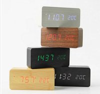 Wholesale Led Table Clock Temperature - Wooden LED Alarm Clock with Old Style Temperature Sounds Control Calendar LED Display Electronic Desktop Digital Table Clocks factory Outlet