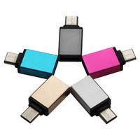meizu pro al por mayor-Metal USB C Tipo C Macho a USB 3.0 Adaptador Convertidor Femenino OTG para MacBook Samsung GALAXY Nota 7 MEIZU pro 5 Xiomi 5 Mi5 4c 300pcs / lot