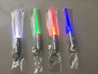 Wholesale Mini Magic Wand - LED Flashlight Stick Keychain Mini Torch Aluminum Key Chain Key Ring Durable Glow Pen Magic Wand Stick Lightsaber LED Light Stick