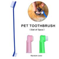 Wholesale Finger Rake - Set of Soft Bristle Pet Toothbrush Equiped with 2 Finger Brush Dental Care Tool for Cat Dog BPA Free