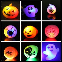 Wholesale pumpkin toys supplies online - Halloween LED Flashing Ring Christmas eyeball pumpkin ghost Finger Rings Novelty Party supplies kids LED Lighted Toys C4718