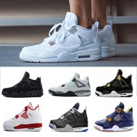 Wholesale Thunder 4s - wholesale 4 4s Basketball Shoes Man White Cement Pure Money bred Fire Red Black Cat Bulls Royalty Angry bull Thunder Mens Sport sneakers