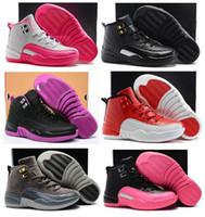 cajas de zapatos para niños al por mayor-Niños Niñas 12 12s Gimnasio Rojo Hiper Violeta Púrpura Niños Zapatillas de baloncesto Niños Rosa Blanco Azul Oscuro Gris Niños pequeños Regalo de cumpleaños con caja