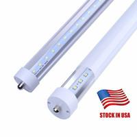 ledli tekli pin floresan lamba toptan satış-ABD'de + 8 ayaklar led 8ft t8 FA8 Tek Pin led ışıkları 45 W LED Floresan Tüp Lambaları AC85-265V 6000 K Soğuk Beyaz