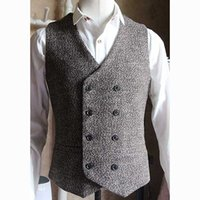 Wholesale casual wedding men vests online - High Quality Man s Vest Double Breasted English Style Vintage Waistcoat Men Formal Dress Wedding Suit Vest