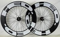 Wholesale 88mm clincher wheel set online - 700C mm depth carbon wheels mm width track bike carbon wheelset with novatec fixed gear hubs UD matter finish