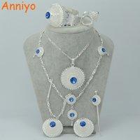 alın için mücevherat toptan satış-Anniyo Gümüş Renk Etiyopya Takı Seti W / Mavi Taş Habesha Gelin Düğün Eritre Alın Zincir Saç Parça # 000617 S18101607