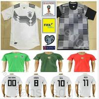 Wholesale Germany Black Jerseys - 2018 World Cup National Germany Football Jersey Muller Gotze Reus Kroos Draxler Neuer Ozil Hummels Boateng Custom Black White Soccer Shirt