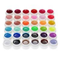 uv jel tencere toptan satış-Profesyonel Saf Renkler Nail Art Glitter Jel Oje UV Sanat DIY Dekorasyon Manikür 36 Tencere için renk