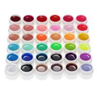 vasos de gel uv venda por atacado-Profissional Pure Cores Nail Art Glitter Gel Nail Polish Art UV DIY Decoração para Manicure cor 36 Pots