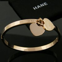 Wholesale Hot Bangle Designs Gold - Hot sale Classic Design 316L Titanium steel punk lovers bangle with double hearts pendant for Women bangle in 5.8cm jewelry gift free shipp