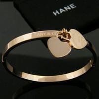 ingrosso regalo libero dell'amante-Vendita calda Classic Design 316L acciaio al titanio amanti punk braccialetto con doppio cuore ciondolo per le donne braccialetto in 5.8 cm regalo gioielli shipp gratuito