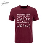 Wholesale I Jesus - All I Need Today Is a Little Bit of Coffee and a Whole Lotta Jesus T Shirt Men Funny Cotton Short Sleeve T-shirt Summer