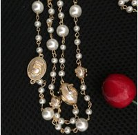 Collier long Fausses Perles femmes nº 5 double couche collane cc Cadeau pour Femmes